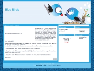 Blue Birds Template for uCoz
